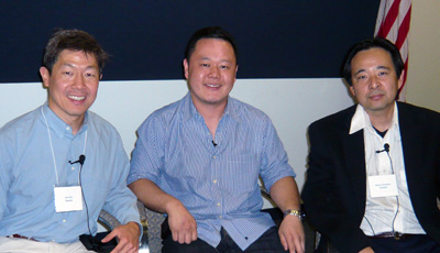 Local author Carl Chu (left), renowned chef Jet Tila and specialty foods marketer Kenny Enomoto participated in a panel discussion with scholars.
