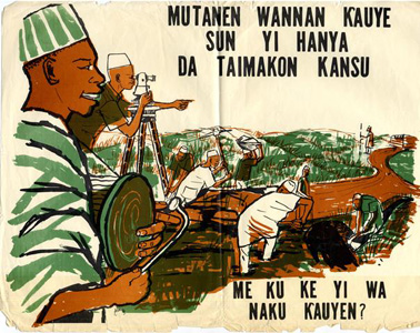 A vintage Nigerian poster on community self help in Hausa asks