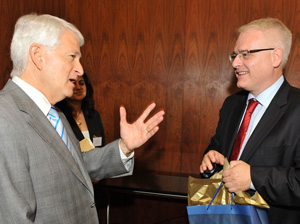 Chancellor Block speaks with the Croatian head of state.