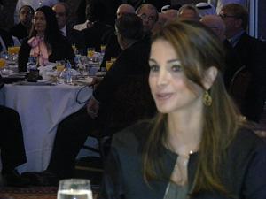 Queen Rania Al Abdullah of Jordan at the conference on Monday