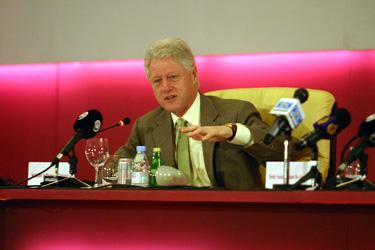 Former President Clinton Addresses Mideast