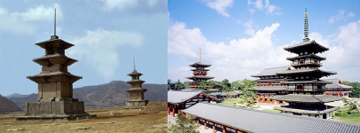 The development and principles of composition on the Buddhist Temple having two pagodas in the Eastern Asia in 7~8th centuries.