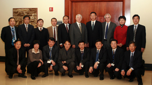 Chancellor Gene Block with visitors from China