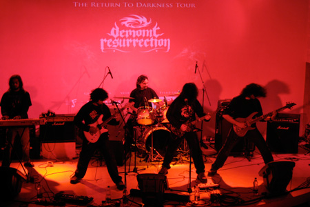 The band Demonic Resurrection plays Kyra, a venue in Bangalore, India.
