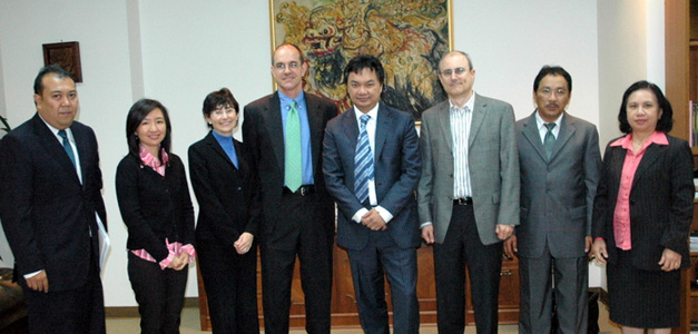 At the first of two Dec. 29 meetings, from left, Education Consul Fiki Oktanio, UCLA Indonesian Language Lecturer Dr. Juliana Wijaya, UCLA International Institute Director of Development Maura Resnick, Pomona College Economics Professor Stephen V. Marks, Indonesian Ambassador HE Dr. Dino Patti Djalal, UCLA Center for Southeast Asian Studies Director Michael Ross, Indonesian Consul General in Los Angeles Hadi Martono, and Charge d'Affaires/Consul Magdalena F.W. Tompodung.