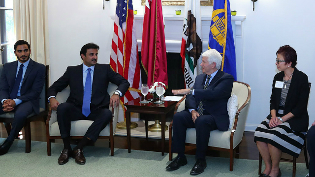 Emir of Qatar engages with UCLA Chancellor and students