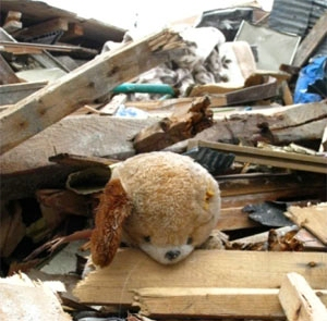 Shimabukuro's team found toys strewn amidst the rubble.